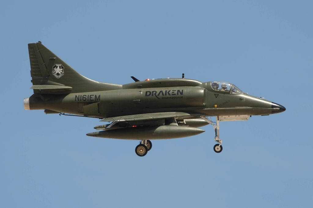 A Draken Int A-4K on approach to Nellis in March. Jamie Hunter