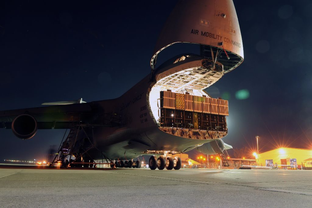 The 728th Air Mobility Squadron prepares to offload a C-5M on November 12, 2015, at Incirlik, Turkey. USAF/A1C Daniel Lile